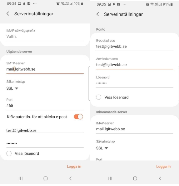 "Under SMTP-server ska det stå ""mail.lgitwebb.se"""